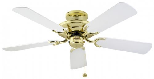 "Fantasia Mayfair 42"" Polished Brass and White Blades Ceiling Fan 110583"